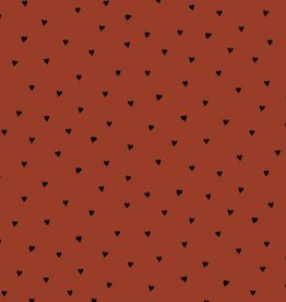 Poppy Poplin brushed hearts roest