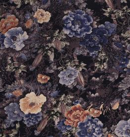 Viscose bloemen indigo