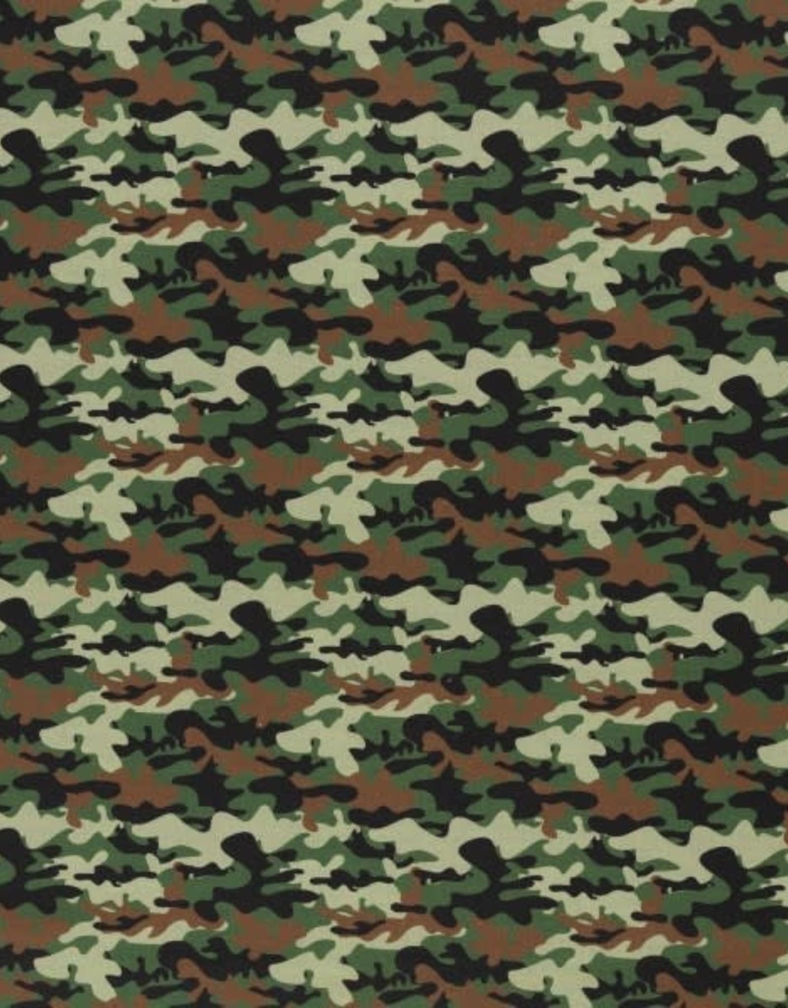 Katoen camouflage kaki