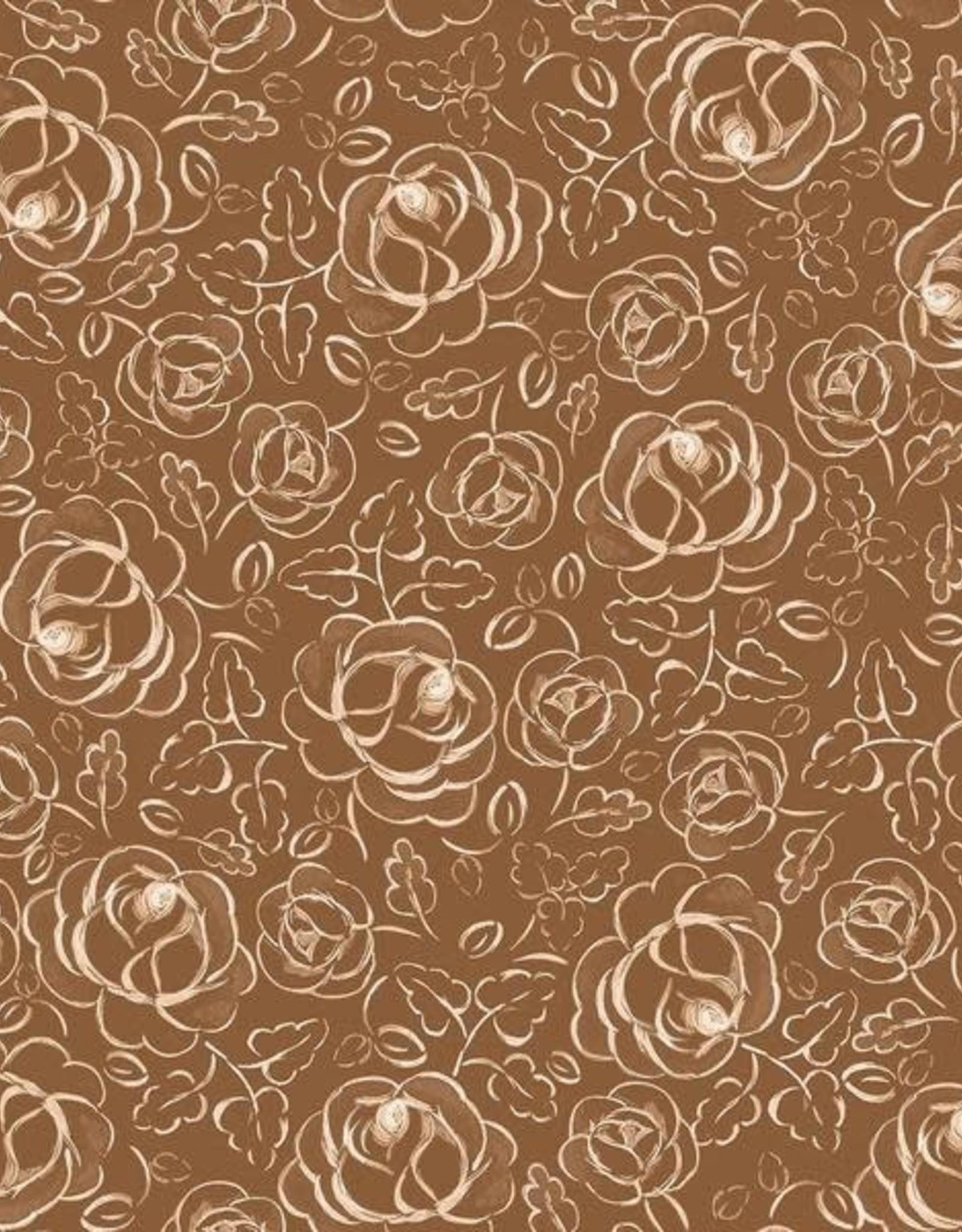 Family Fabrics Copper roses polin