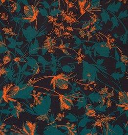 zwart met groene en oranje bloemen