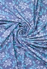 Jacquard flowers blauw