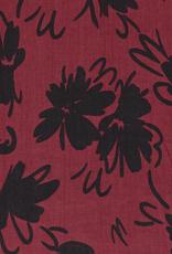 Tencel bordeaux rood met zwarte bloem