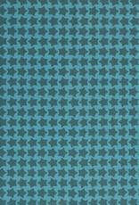 Gelamineerd katoen stars turquoise/teal