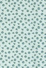 Popeline limegroen bloemen