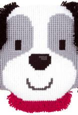Kruissteek-en knoopkussen lief hondje