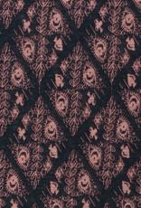 Donkerblauw met roze lurex