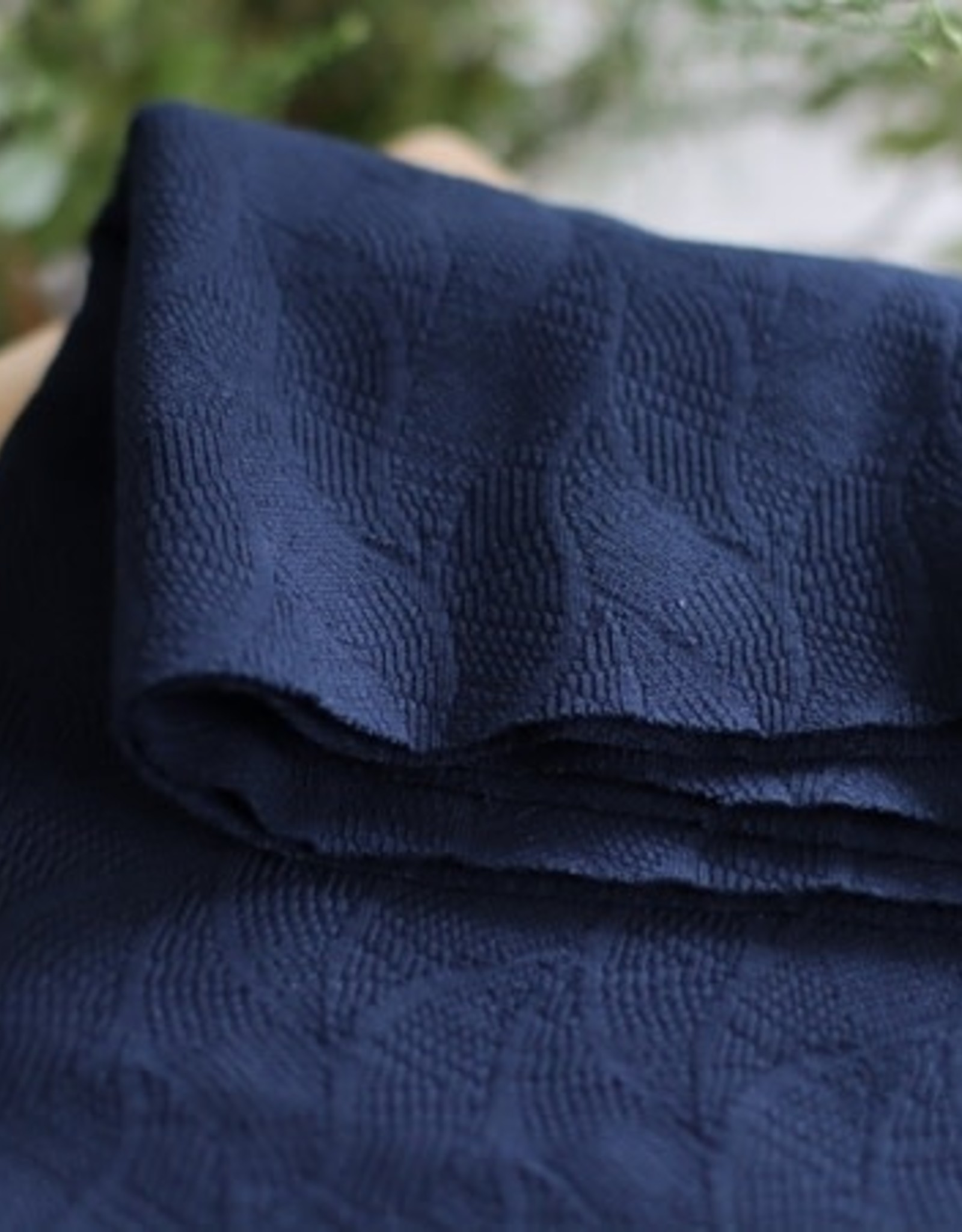 Mind the Maker Organic leaf jacquard indigo night