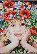 Diamond painting kit Meisje met bloemen