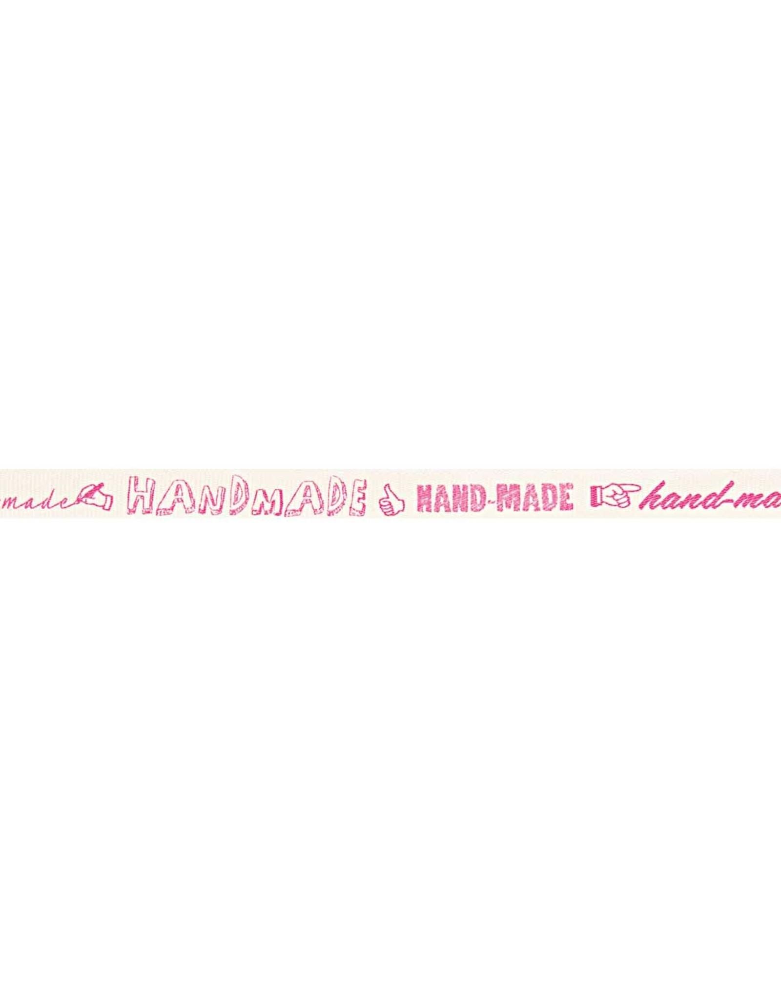 Rico Design Ribbon white handmade pink 2m