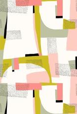 Katia Canvas gold abstract pink