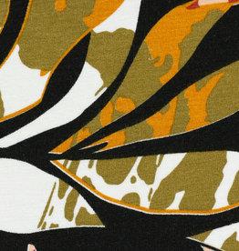 Tricot viscose grote bladeren zalm zwart