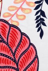Tricot viscose grote bloemen rood blauw