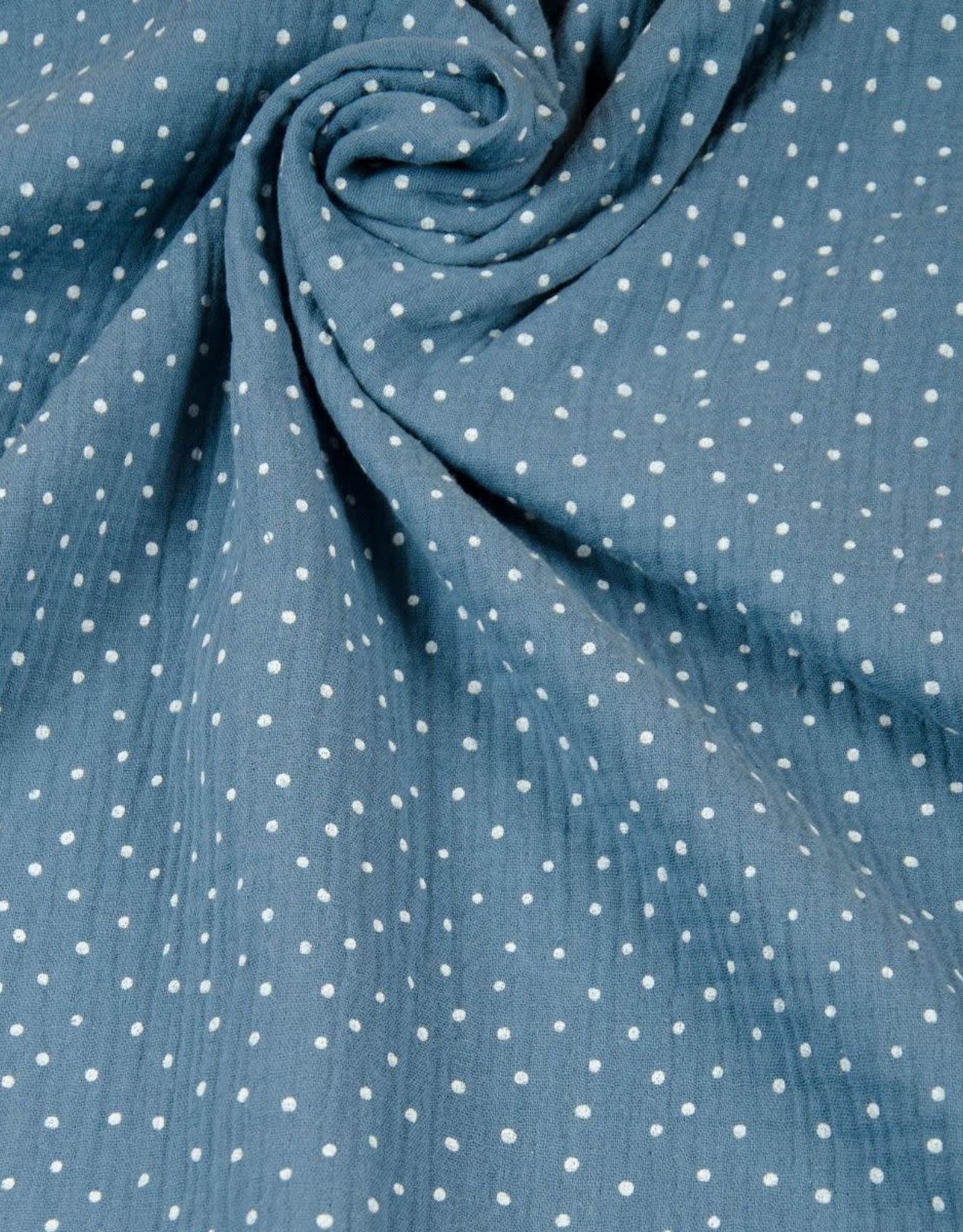Hilco Double gauze dots blauw