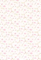 Tricot roze bloempjes  gebroken wit