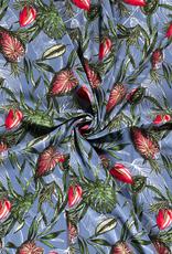 Viscosetricot lichtblauw bloemen