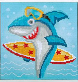 Diamond painting surfende haai