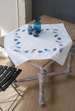 Tafelkleed kit blauwe pluimpjes