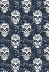 Poppy Skulls navy