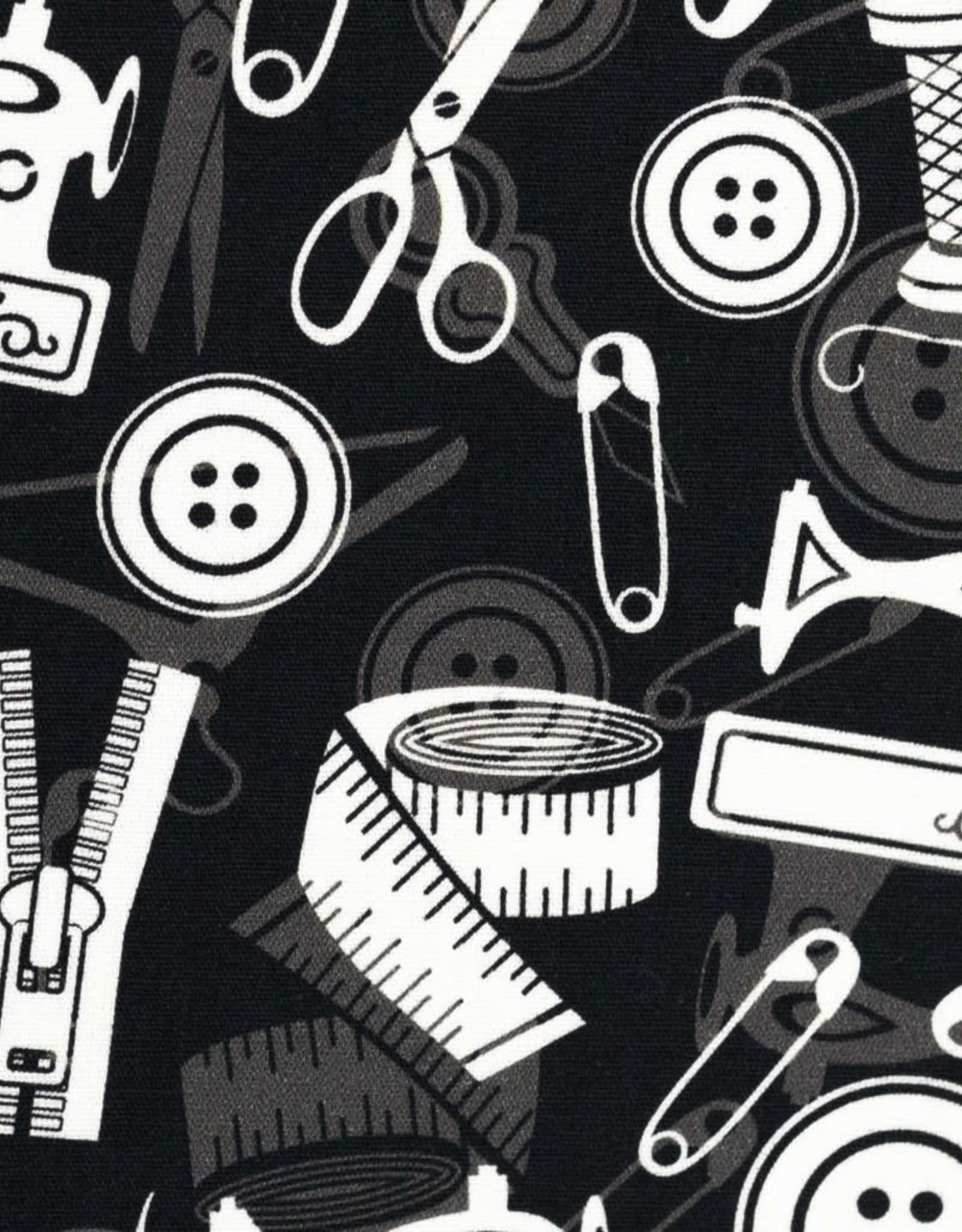 Katoen naaigerief zwart wit