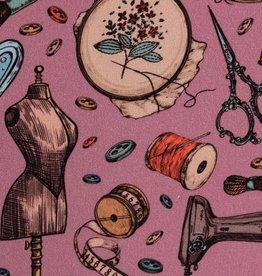 Katoen naaigerief oud roze
