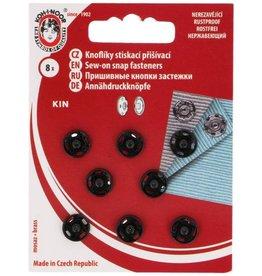 Aannaaidrukknopen 9mm zwart 8 st