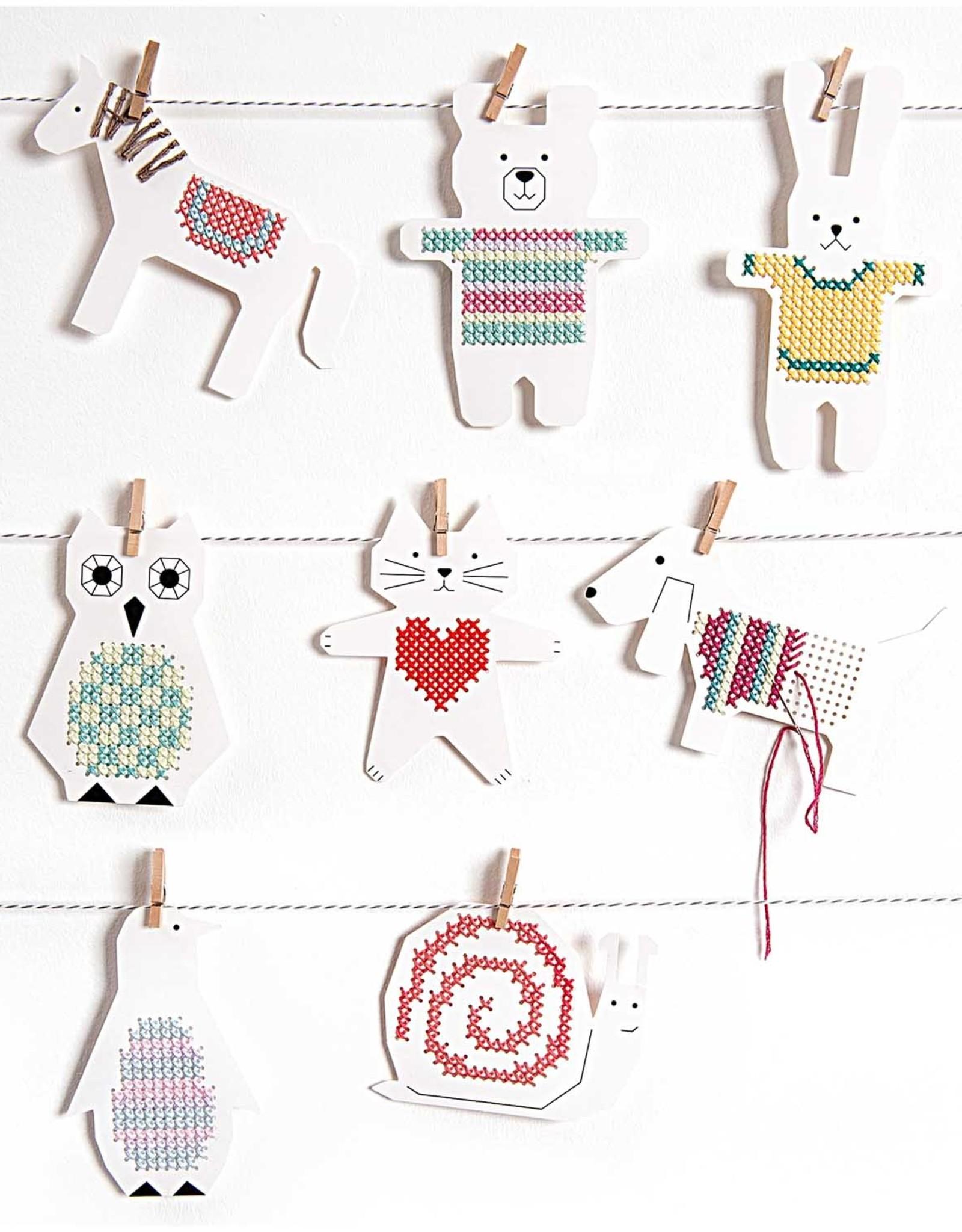 Rico Design Borduurbordjes paard/hond 8 stuks