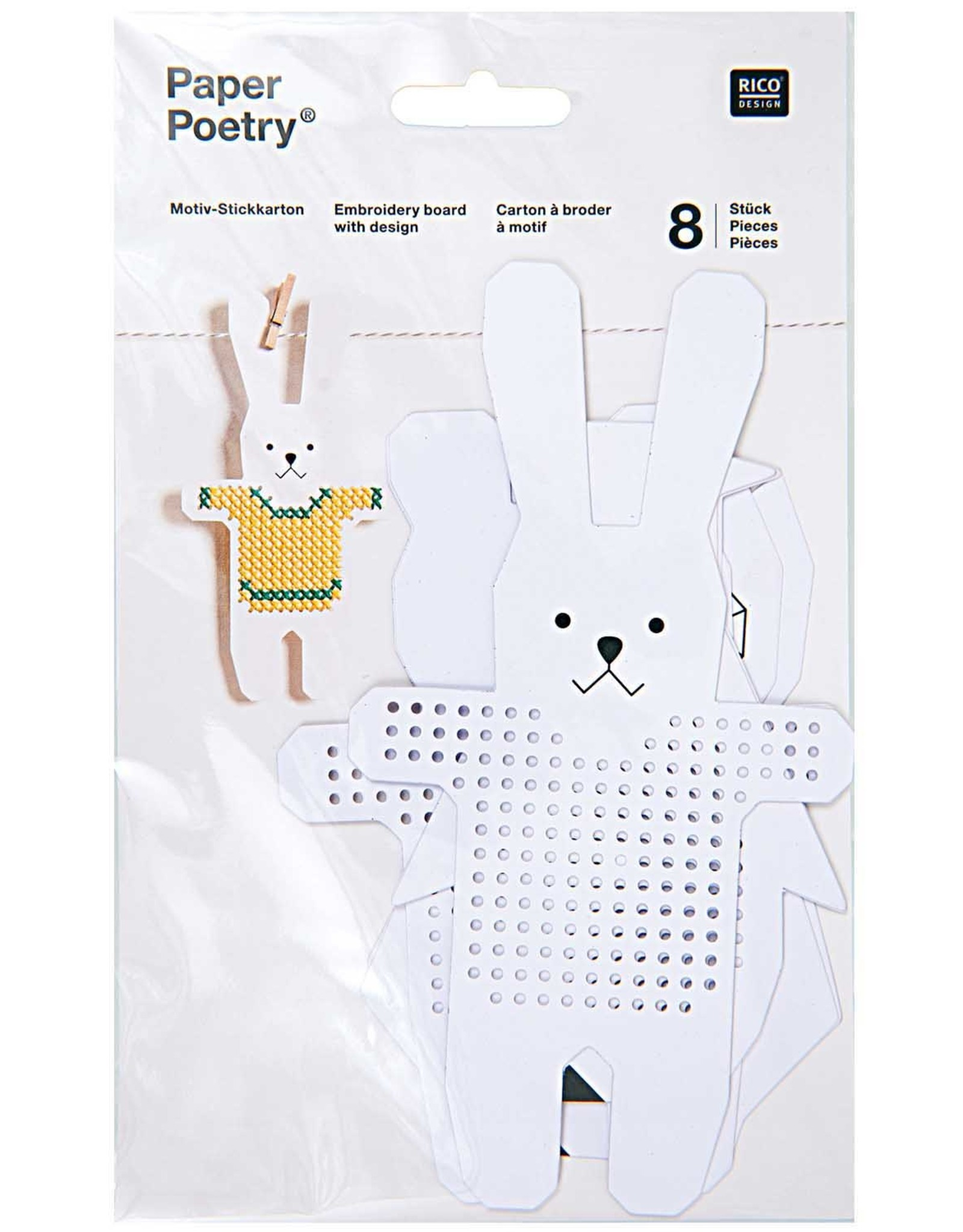 Rico Design Borduurbordjes pinguin/uil 8 stuks