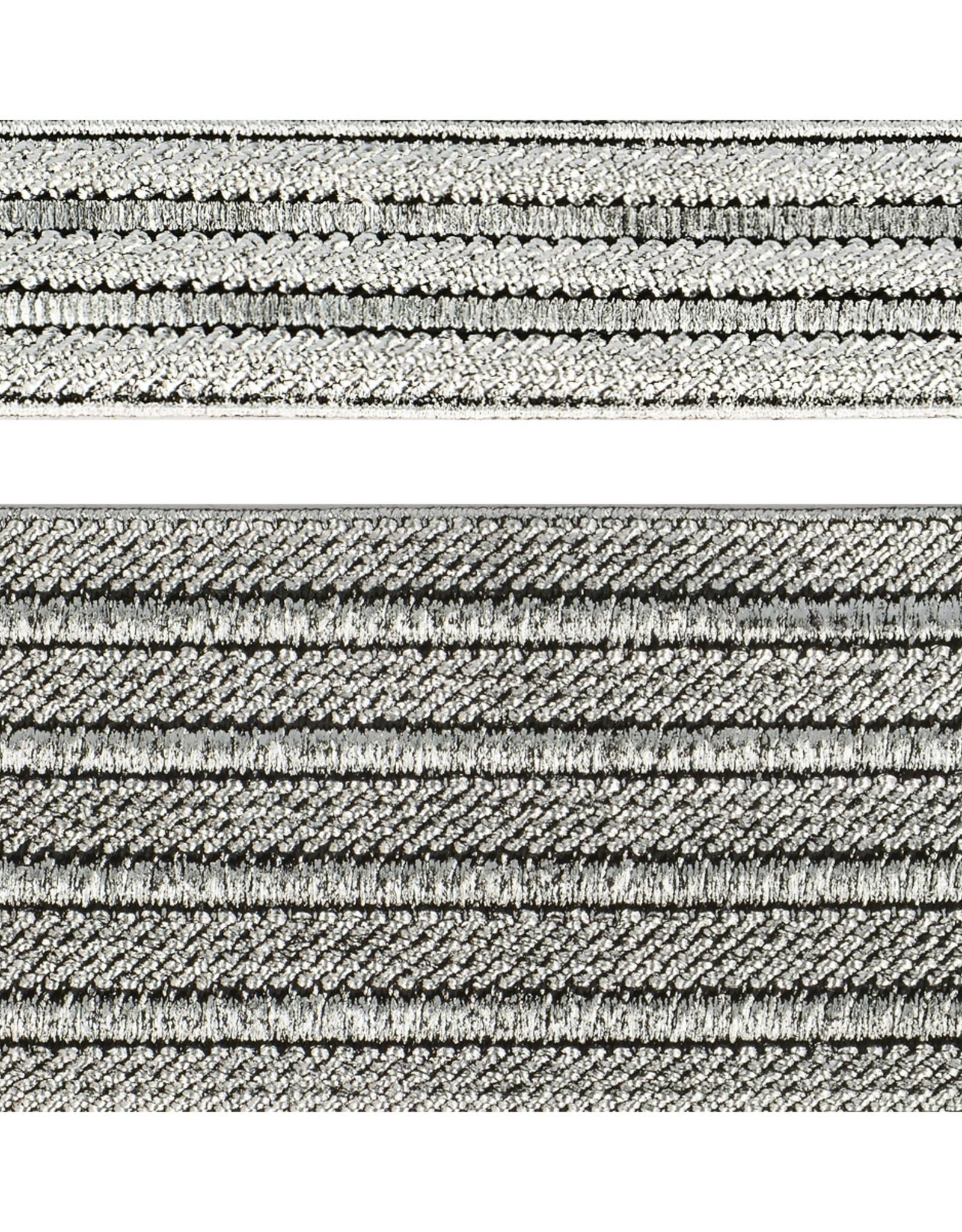 Elastiek gestreept zilver 50mm