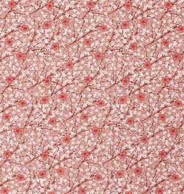 Popeline bloemen brique