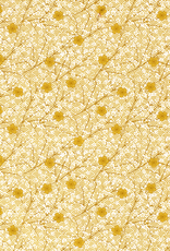 Popeline bloemen oker