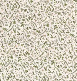 Mousseline groene blaadjes gebroken wit