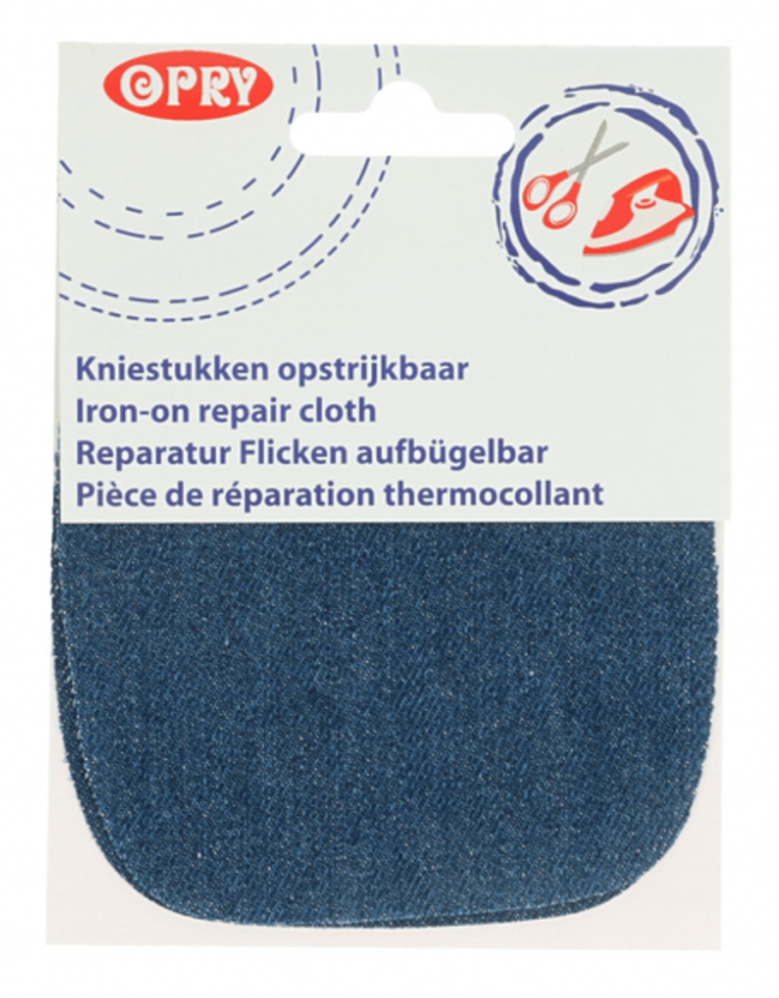 Kniestukken opstrijkbaar jeans middenblauw