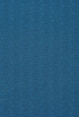 Double gauze embroided indigo