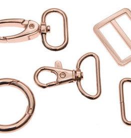Metalen D-ring rose goud 25mm