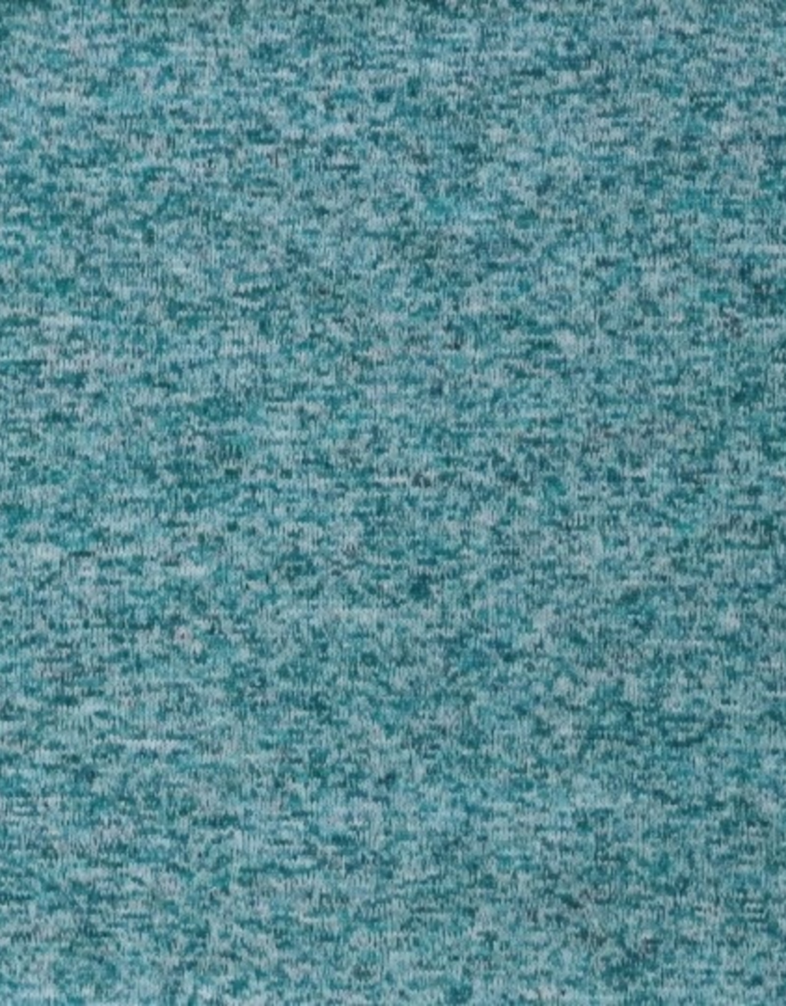 Gebreide Japanse melange met fleece turquoise