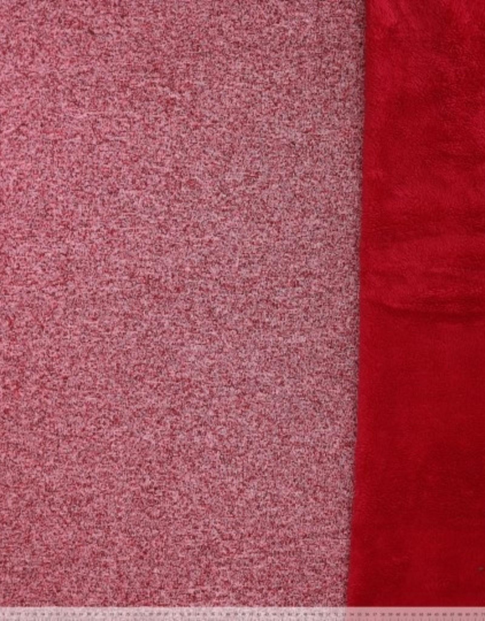 Gebreid gedubbel met fleece rood