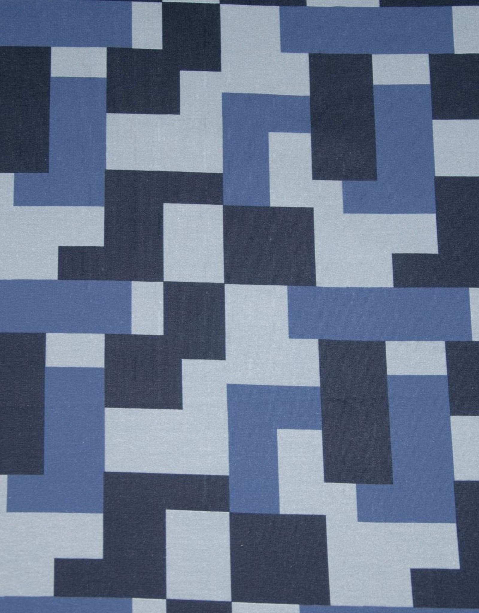 Big pattern blauw ruiten