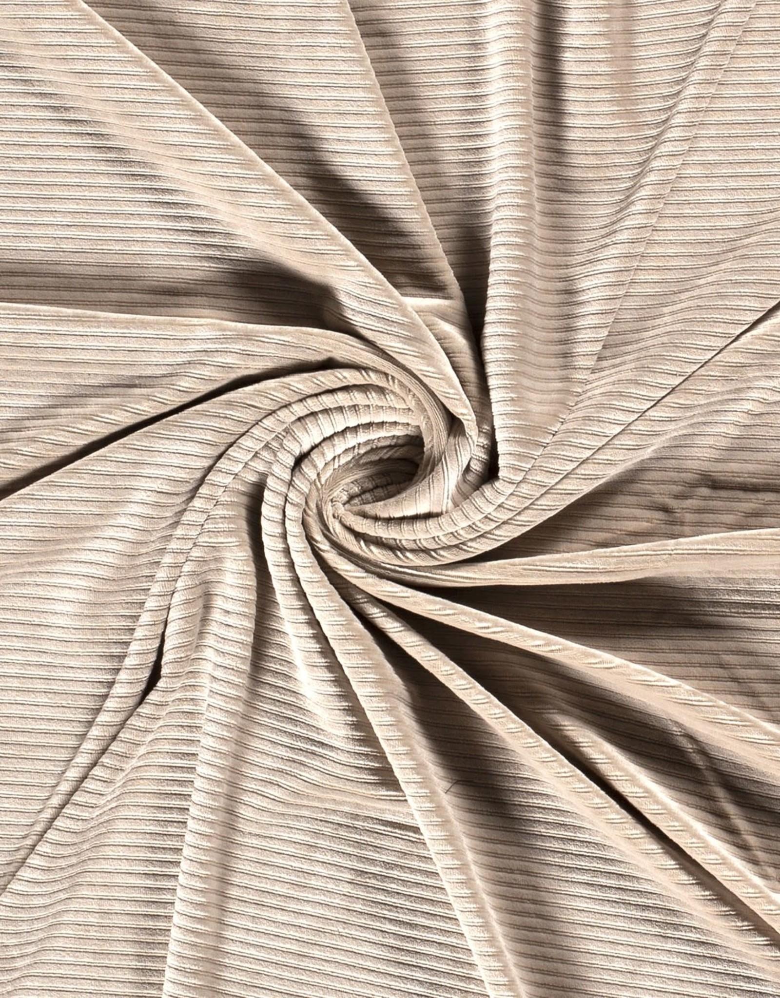 Ribfluweel stretch big rib beige