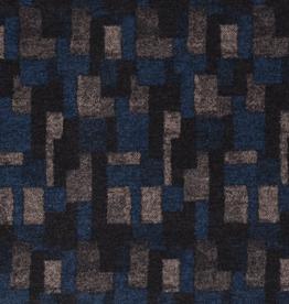 Viscose abstract blauwe ruiten