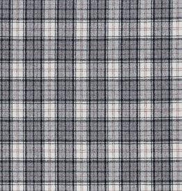 Tweed grijs geruit met franjes