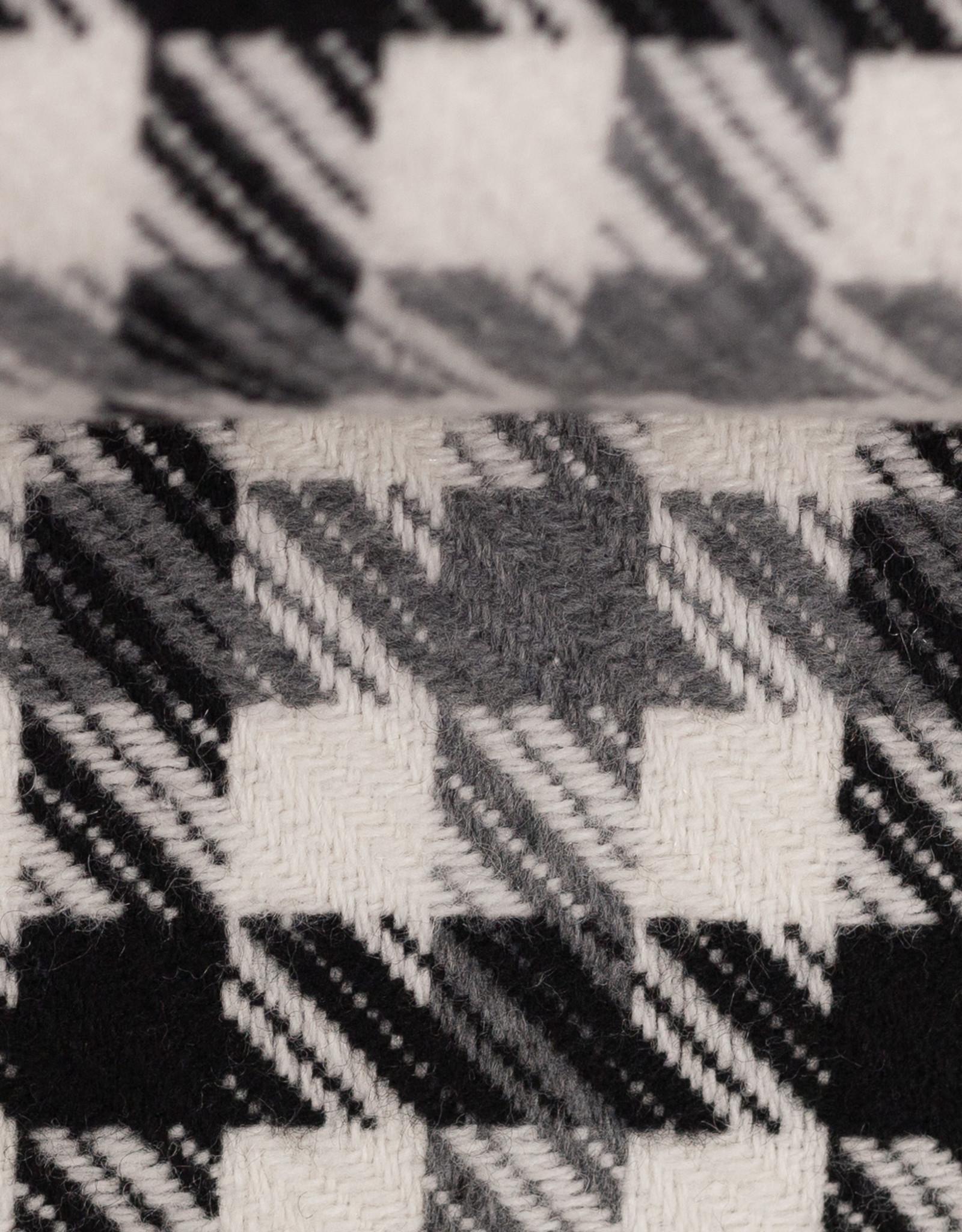 Mantelstof zwart wit grijs geruit