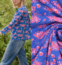 FM Ermine little pink flowers blue pink