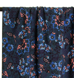 Atelier Jupe Blue and soft pink flowers viscose