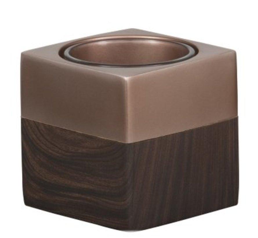 Wood Copper Votive Holder