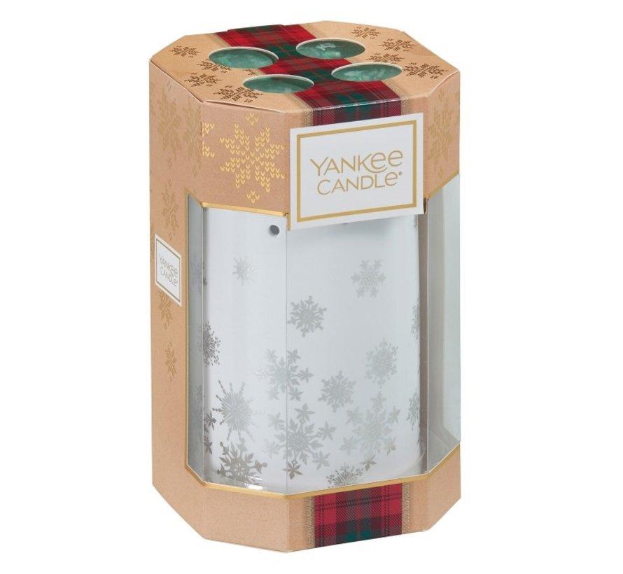 Alpine Christmas 4 Tea Lights & 1 Luminary Gift Set