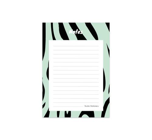 Studio Stationery Noteblock Zebra Mint