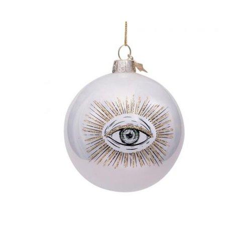Vondels Kerstbal - White Pearl Eye