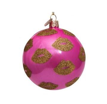 Vondels Kerstbal - Pink Golden Lips