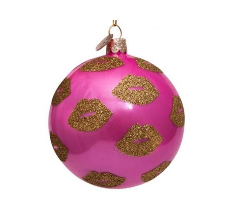 Kerstbal - Pink Golden Lips